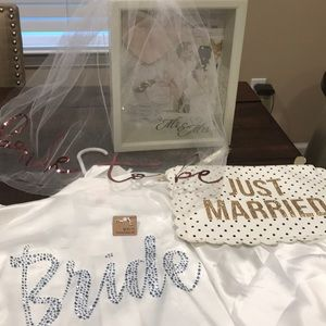 Bride Robe, Earrings, Veil, Wedding shadow box